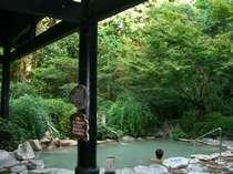 【風呂】森林浴(紅葉浴)のできる大露天風呂「さくら湯」。目に鮮やかな緑が癒されます