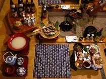 『夕食』 囲炉裏料理の一部風景 * イメージです *