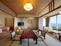 檜内風呂付き和洋室(10畳+TWベッド+広縁+内風呂)昼景の一例
