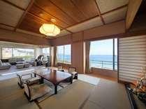 貴賓室(リビング??平米+12畳+6畳+TWベッド+檜内風呂)昼景