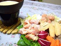 *当館の飛鳥鍋は豆乳もプラスしています♪アクセントには柚子胡椒が食欲をそそります!