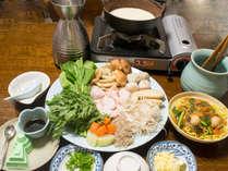 飛鳥鍋(1人前)の一例:真菜や菊菜などの大和野菜をふんだんに使っています。