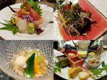 七夕特別会席♪目に華やかな料理が並びます。素材を活かし丁寧に仕上げたお料理の数々をお楽しみください。
