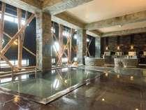 【静の湯】 清潔感を感じさせながらも少し照明を落とし、ほのかな明かりがムードを高める