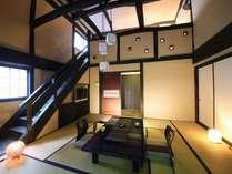 晩霞亭 露天風呂付き春仙の間。上階はセミダブルツインのベッドルーム