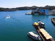 目の前の観光桟橋です。船に乗ってホテル浦島へ湯めぐり♪
