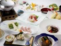 【旬魚・食通プラン】 鰤しゃぶ付きのプチ贅沢な会席料理に揚げたて天麩羅など食べ放題料理付きダイニング