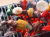長野県で有名な野菜の産地、山形村の地物野菜とジューシーなお肉を炭火焼でBBQ!
