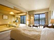 東館和洋室(1) 河口湖眺望禁煙和洋室 (6名様定員)畳8畳+ヘ゛ット゛2台