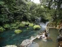 自然と一体化したかのような渓谷沿い露天風呂