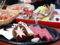 ご夕食・グレードアップ-信州肉の競演、じゅうじゅうの信州牛の鉄板ステーキ-