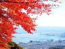 比叡山ドライブウェイは秋の紅葉スポット。夢見ヶ丘からは琵琶湖を眺められます
