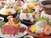 牛ステーキ、鯛・エビなど新鮮海の幸造り、鯛の寄せ鍋などの会席料理(一例)