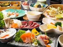 【ご夕食】地元の山で獲れた猪肉「八溝ししまる」をはじめとして、様々な川魚など、ここだけの味を。