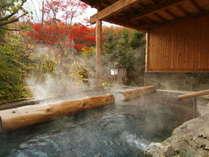 【縄文の湯/ぬりさわの湯・夢枕の湯(露天)】「どんど晴れ」の撮影にも使用された露天風呂