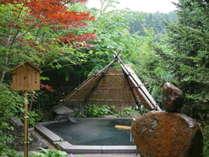 【縄文の湯/ぬりさわの湯・竪穴の湯(露天)】竪穴式住居をテーマにした、深さ120cmの立ち湯です。
