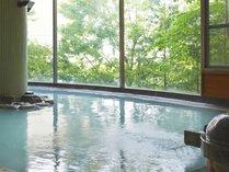雄大な那須高原を見下ろす眺望が自慢の乳白色の硫黄温泉。露天からは那須の緑を体感♪みんなで癒しの時間を