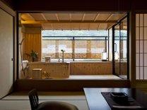 【讃水館】露天風呂付客室・檜風呂風(内側御影石)の浴槽(一例)