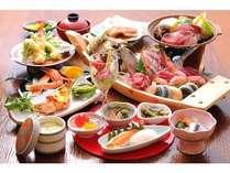 夕食は舟盛り(写真2人前)に、ズワイ蟹と、肉陶板焼き付き春~秋の夕食例