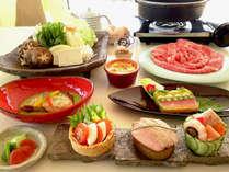 春のレストランメニュー例(すき焼きメイン)