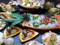 春の漁火焼き料理・舟盛付