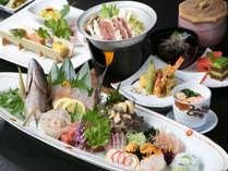 【日南の味覚】たっぷりのお魚に大満足♪姿造りと旬な地魚の盛合せが付いた漁師会席