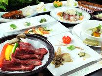 ◆【ご夕食一例】国産黒毛和牛の陶板焼きと会津郷土食
