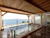 【宍道湖眺望露天風呂】夕方は夕日をお楽しみいただける見晴らしのよい露天風呂です♪