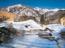 [写真]大パノラマが広がる冬の露天風呂