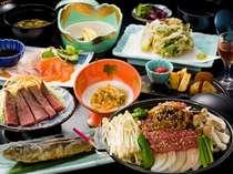 当館おすすめプラン「飛騨牛陶板焼き」と「飛騨牛ローストビーフ」付き夕食(一例)