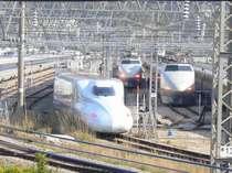 ホテルから見た新幹線車輌基地