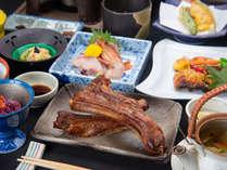 *夕食一例(越後もち豚のスペアリブ付会席料理)/お米は地元、魚沼コシヒカリを釜炊きスタイルで