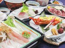 御造り・和牛陶板焼・鯛と蟹のしゃぶしゃぶ・海老の黄金焼き