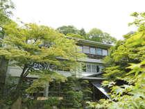 落葉山の中腹に建つ楓に囲まれた館。
