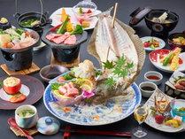 【長者会席/一例】黒毛和牛の陶板焼き・ヒラメのお造り・ロブティルの天ぷらの豪華三食材の会席です。