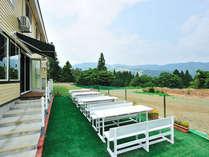 目の前は広大なドッグラン★天気の良い日は、テラス席でお食事も出来ます。