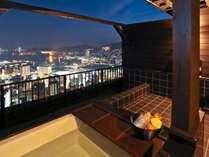 屋上にしつらえた4室のプライベート空間。長崎市内で唯一夜景が見える貸切露天風呂。