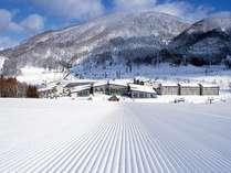 ◆スキーシーズン ホテルに向かって滑り降りる!幅広のメインゲレンデ