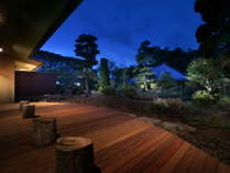 【中庭】ウッドデッキの前に広がるシダの植物から白樺の木などがございます。夜はライトアップされます