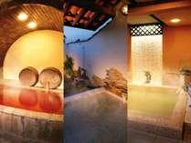 4種類の貸切風呂と2つの貸切温泉露天風呂はいずれも無料♪ 湯~ったりとお寛ぎください。