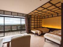 【ミクニスイート】ツインベッドと和室、露天風呂を備えた、2室限定のラグジュアリールーム。