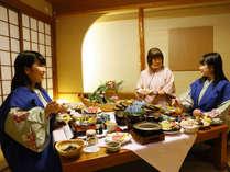 新鮮な海の幸と鹿児島名物をバランス良く融合させ、お部屋でお召し上がりいただく懐石料理。