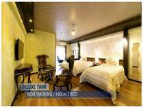 35平米のお部屋に140cm幅ベッド2台でゆっくりとおくつろぎいただけます♪テ゛ラックスツイン