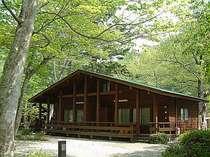 森のコテージ。室内面積43㎡、ウッドデッキ16㎡。別荘感覚でリッチな気分でどうぞ