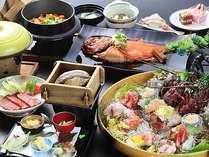 伊勢海老、鮑、金目鯛の三大味覚を中心に、和牛料理もプラス!