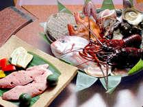 新鮮な魚介類・お野菜を目の前の鉄板でお焼きします。味は極力シンプルに召し上がりください。