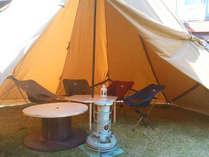 ちょっと趣向を変えてテントで夕食!アウトドア気分をお楽しみいただけます