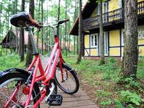 自転車はすべてのヴィラに備え付け、朝の散策や近くへどうぞご利用ください。