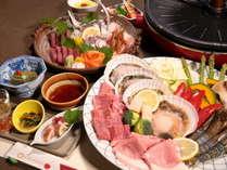 【チョコフォンデュ付きファミリー会席~鉄板焼きコース~】山形牛・三元豚・海鮮(カニ・ホタテなど)