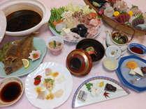 あんこう鍋・刺身舟盛プランの夕食膳